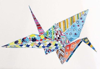 Origami bird. Watercolour on paper.