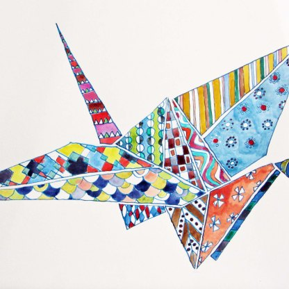 Origami bird. Watercolour on paper.