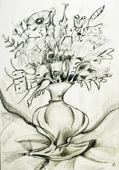 Vase sketch. Pencil on paper.