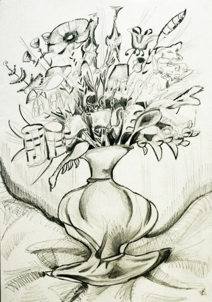 Vase sketch. Pencil on paper.