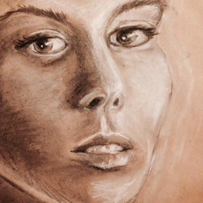 Portrait sketch. Chalk and charcoal on brown paper.