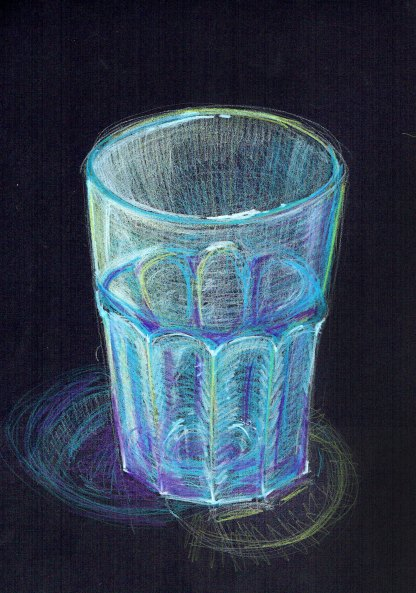 Glass tumbler sketch. Pencil on black paper.