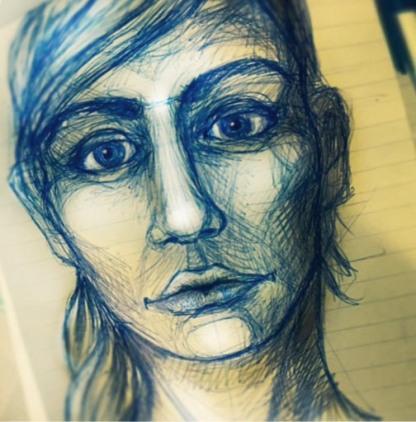 Portrait sketch. Pen on paper.