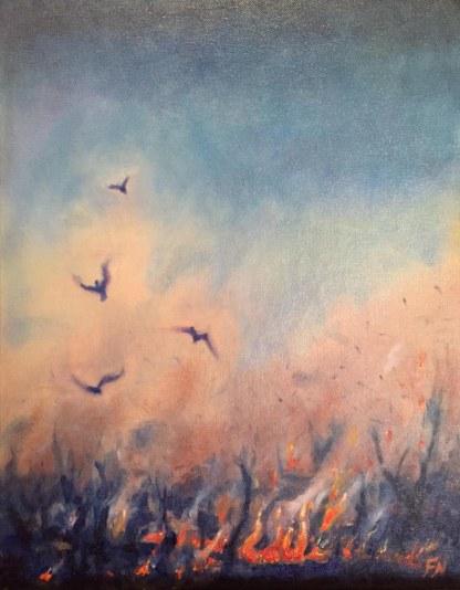 Scrub Fire. Oil on canvas board.
