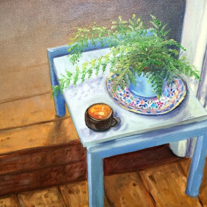 Oil on canvas board. Fern and coffee cup.